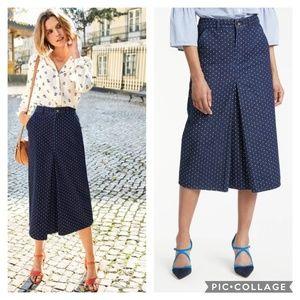 NWT Boden Mira Polka Dot Denim Midi Skirt